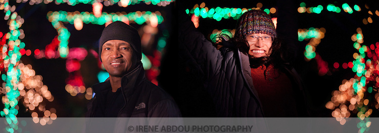 Irene & Idrissa Abdou enjoy the annual holiday lights display at the Brookside Gardens Garden of Light in Wheaton, Maryland.