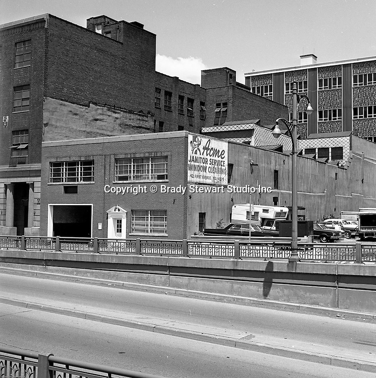 Pittsburgh PA:  View of businesses along Fort Pitt Boulevard.  Acme Janitor Service and Hyle and Patterson were two of the businesses on Fort Pitt Boulevard in 1966.