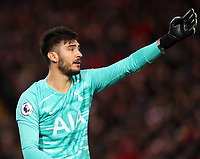 27th October 2019; Anfield, Liverpool, Merseyside, England; English Premier League Football, Liverpool versus Tottenham Hotspur; Tottenham goalkeeper Paulo Gazzaniga organises his defensive wall prior to a Liverpool direct free kick  - Strictly Editorial Use Only. No use with unauthorized audio, video, data, fixture lists, club/league logos or 'live' services. Online in-match use limited to 120 images, no video emulation. No use in betting, games or single club/league/player publications