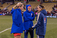 COLUMBUS, OH - NOVEMBER 07: Lindsey Horan #9 and Tobin Heath #17 of the United States talk with Kosovare Asllani #9 of Sweden during a game between Sweden and USWNT at Mapfre Stadium on November 07, 2019 in Columbus, Ohio.