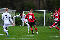 Kristoffer Peterson of Swansea City u23s' has a shot during the Premier League 2 Division Two match between Swansea City u23s and Middlesbrough u23s at Swansea City AFC Training Academy  in Swansea, Wales, UK. Monday 13 January 2020.