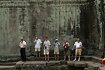 CAMBODIA  -  APRIL 7, 2005:  Tourists visit Ta Prom at Angkor Wat in Siem Reap on April 7th, 2005 in Cambodia.  (PHOTOGRAPH BY MICHAEL NAGLE)