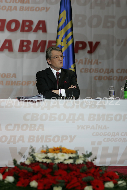 Kiev, ukraine.March 14, 2006..Ukraine President Victor Yushchenko holds a press conference in the Ukrainian House.