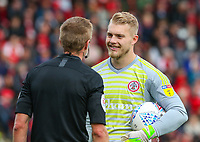 Accrington Stanley's Connor Ripley has a word with  referee Michael Salisbury<br /> <br /> Photographer Alex Dodd/CameraSport<br /> <br /> The EFL Sky Bet League One - Fleetwood Town v Accrington Stanley - Saturday 15th September 2018  - Highbury Stadium - Fleetwood<br /> <br /> World Copyright &copy; 2018 CameraSport. All rights reserved. 43 Linden Ave. Countesthorpe. Leicester. England. LE8 5PG - Tel: +44 (0) 116 277 4147 - admin@camerasport.com - www.camerasport.com