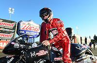 Nov. 10, 2012; Pomona, CA, USA: NHRA pro stock motorcycle rider Matt Smith during qualifying for the Auto Club Finals at at Auto Club Raceway at Pomona. Mandatory Credit: Mark J. Rebilas-