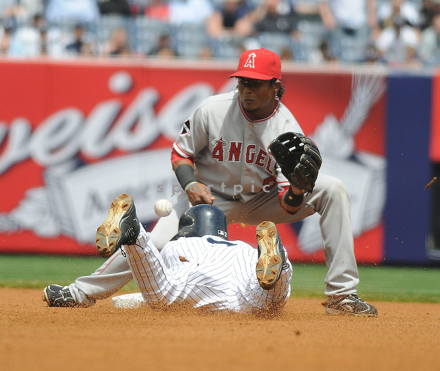 ERICK AYBAR, of the Los Angeles Angels in action during the Angels  game against the New York Yankess on May 2, 2009 in New York, New York  The Angels  beat the Yankees 8-4...