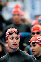 12 JUL 2009 - KITZBUHEL, AUT - Helen Jenkins waits for the race start - ITU World Championship Series Womens Triathlon.(PHOTO (C) NIGEL FARROW)