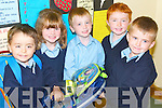 &nbsp;SCHOOL BAG: Helping each other to carry their school bags on their first day at Scoil Chríost Rí, Drumnacurra National School, Causeway, on Monday, l-r: Adam Butler, Lisa and Liam Barrett, Daniel Burke and Séan Delaney.<br />