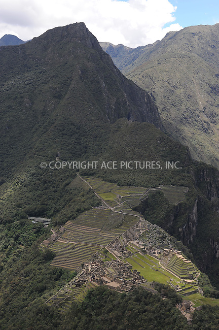 "WWW.ACEPIXS.COM . . . . . .January 9, 2013...Peru....Machu Picchu is a pre-Columbian 15th-century Inca site located 2,430 metres (7,970 ft) above sea level. It is situated on a mountain ridge above the Urubamba Valley in Peru, which is 80 kilometres northwest of Cusco and through which the Urubamba River flows. Often referred to as the ""City of the Incas""  on January 9, 2013 in Peru ....Please byline: KRISTIN CALLAHAN - ACEPIXS.COM.. . . . . . ..Ace Pictures, Inc: ..tel: (212) 243 8787 or 212 489 0521..e-mail: kristincallahan@aol.com...web: http://www.acepixs.com ."