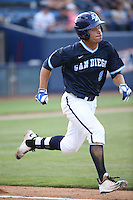 Bryson Brigman (8) of the University of San Diego Toreros runs to first base during a game against the Cal State Fullerton Titans at Goodwin Field on April 5, 2016 in Fullerton, California. Cal State Fullerton defeated University of San Diego, 4-2. (Larry Goren/Four Seam Images)