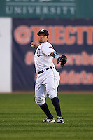 Connecticut Tigers outfielder Jose Zambrano (28) throws the ball in during the first game of a doubleheader against the Brooklyn Cyclones on September 2, 2015 at Senator Thomas J. Dodd Memorial Stadium in Norwich, Connecticut.  Brooklyn defeated Connecticut 7-1.  (Mike Janes/Four Seam Images)