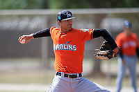 Miami Marlins pitcher Lukas Schiraldi (46) during a Minor League Spring Training Intrasquad game on March 27, 2018 at the Roger Dean Stadium Complex in Jupiter, Florida.  (Mike Janes/Four Seam Images)