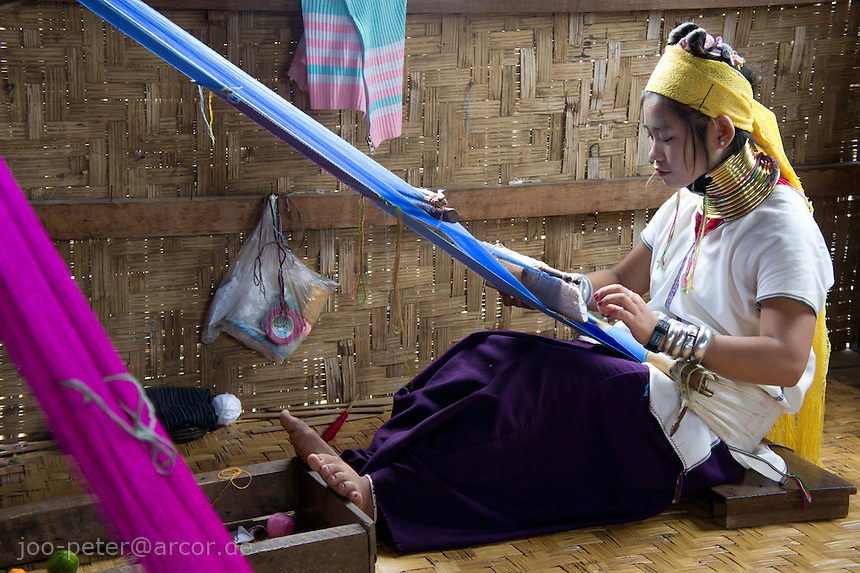 woman weaving in Ywama village at  Inle Lake, Shan state,  Myanmar, 2011