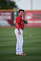 State College Spikes Imeldo Diaz (5) warms up before a game against the West Virginia Black Bears on August 30, 2018 at Medlar Field at Lubrano Park in State College, Pennsylvania.  West Virginia defeated State College 5-3.  (Mike Janes/Four Seam Images)