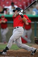 Carter Bell #3 of the Visalia Rawhide bats against the High Desert Mavericks at Stater Bros. Stadium on May 15, 2012 in Adelanto,California. (Larry Goren/Four Seam Images)