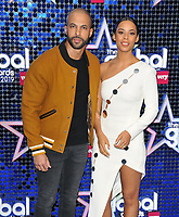Marvin Humes and Rochelle Humes at the Global Awards 2019, Hammersmith Apollo (Eventim Apollo), Queen Caroline Street, London, England, UK, on Thursday 07th March 2019.<br /> CAP/CAN<br /> &copy;CAN/Capital Pictures