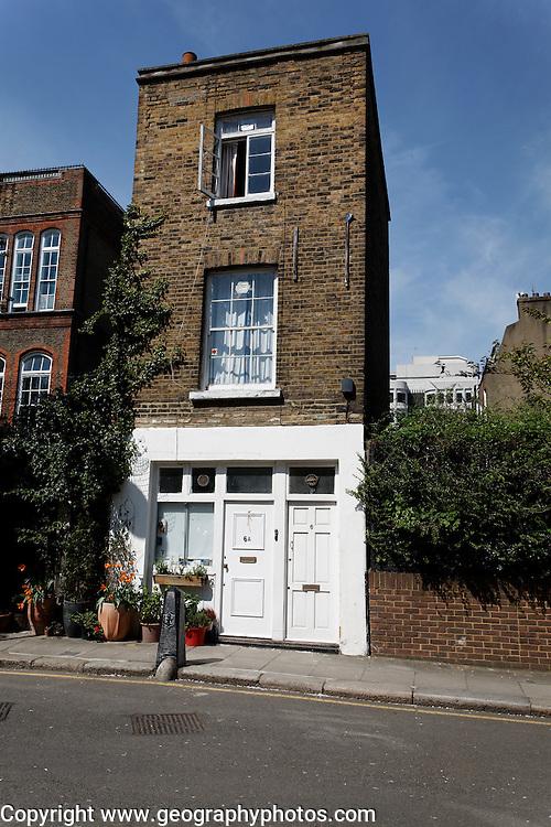Unusual narrow house split into two flats, Whidborne Street, King's Cross, London WC1, England