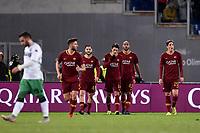 Patrik Schick Roma celebrates after scoring a goal with team mates Manolas, Nzonzi, Zaniolo.<br /> Roma 26-12-2018 Stadio Olimpico<br /> Football Calcio Campionato Serie A<br /> 2018/2019 <br /> AS Roma - Sassuolo<br /> Foto Antonietta Baldassarre / Insidefoto