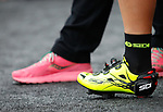 Pink and yellow at sign on before the start of Stage 6 of the 100th edition of the Giro d'Italia 2017, running 217km from Reggio Calabria to Terme Luigiane, Italy. 11th May 2017.<br /> Picture: LaPresse/Simone Spada | Cyclefile<br /> <br /> <br /> All photos usage must carry mandatory copyright credit (&copy; Cyclefile | LaPresse/Simone Spada)