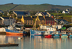 County Kerry, Ireland:<br /> Boats and buildings of the colorful waterfront of Portmagee at sunrise, Iveragh peninsula