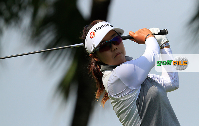 Jenny Shin (USA) on the 2nd tee during Round 3 of the HSBC Women's Champions at the Sentosa Golf Club, The Serapong Course in Singapore on Saturday 7th March 2015.<br /> Picture:  Thos Caffrey / www.golffile.ie