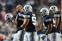 Sept. 19, 2009; Provo, UT, USA; BYU Cougars defensive lineman Jan Jorgensen (left) against the Florida State Seminoles at LaVell Edwards Stadium. Florida State defeated BYU 54-28. Mandatory Credit: Mark J. Rebilas-