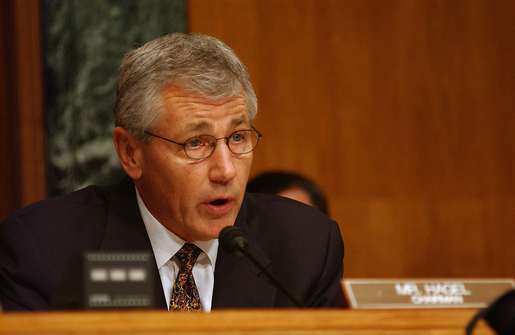 11/4/03.FINANCIAL RECONSTRUCTION IN IRAQ--Senate Banking International Trade and Finance Subcommittee Chairman Chuck Hagel, R-Neb., during the hearing..CONGRESSIONAL QUARTERLY PHOTO BY SCOTT J. FERRELL