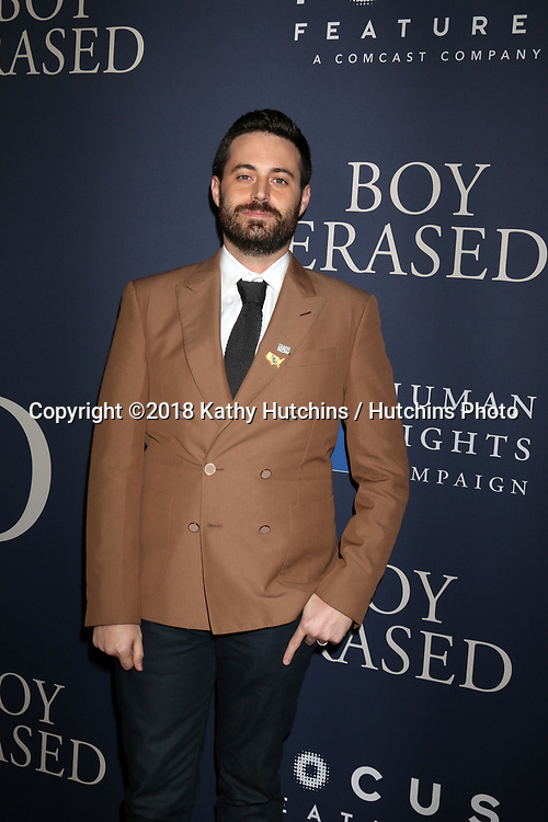 "LOS ANGELES - OCT 29:  Garrard Conley at the ""Boy Erased"" Premiere at the Directors Guild of America Theater on October 29, 2018 in Los Angeles, CA"
