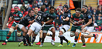 Leicester Tigers' Telusa Veainu is tackled by  Newcastle Falcons' Toby Flood <br /> <br /> Photographer Stephen White/CameraSport<br /> <br /> Gallagher Premiership Round 2 - Leicester Tigers v Newcastle Falcons - Saturday September 8th 2018 - Welford Road - Leicester<br /> <br /> World Copyright &copy; 2018 CameraSport. All rights reserved. 43 Linden Ave. Countesthorpe. Leicester. England. LE8 5PG - Tel: +44 (0) 116 277 4147 - admin@camerasport.com - www.camerasport.com