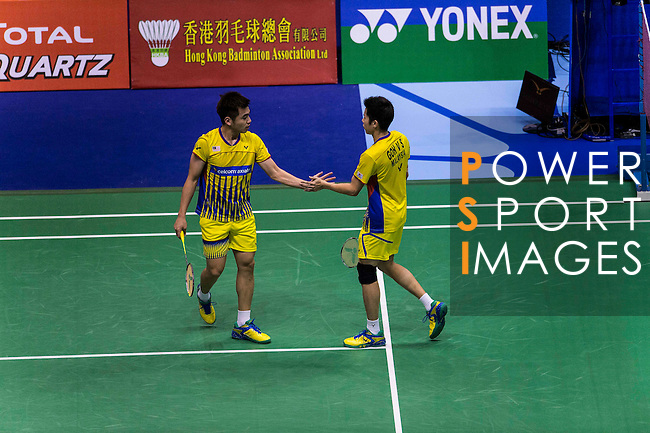 Goh V Shem and Tan Wee Kiong of Malaysia compete against Mohammad Ahsan and Rian Agung Saputro of Indonesia during the Men's Doubles' Quarter-final match of the YONEX-SUNRISE Hong Kong Open Badminton Championships 2016 at the Hong Kong Coliseum on 25 November 2016 in Hong Kong, China. Photo by Marcio Rodrigo Machado / Power Sport Images