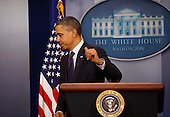 """United States President Barack Obama departs the Brady Press Briefing Room after making a statement following his signing H.R. 3765  """"Temporary Payroll Tax Cut Continuation Act of 2011"""" in the Oval Office on Friday, December 23, 2011. .Credit: Dennis Brack / Pool via CNP"""