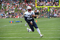 August 1, 2018: New England Patriots running back Jeremy Hill (33) runs after making a catch at the New England Patriots training camp held on the practice fields at Gillette Stadium, in Foxborough, Massachusetts. Eric Canha/CSM