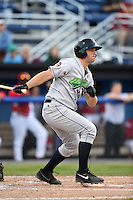 Jamestown Jammers catcher Taylor Gushue (13) at bat during a game against the Batavia Muckdogs on July 7, 2014 at Dwyer Stadium in Batavia, New York.  Batavia defeated Jamestown 9-2.  (Mike Janes/Four Seam Images)