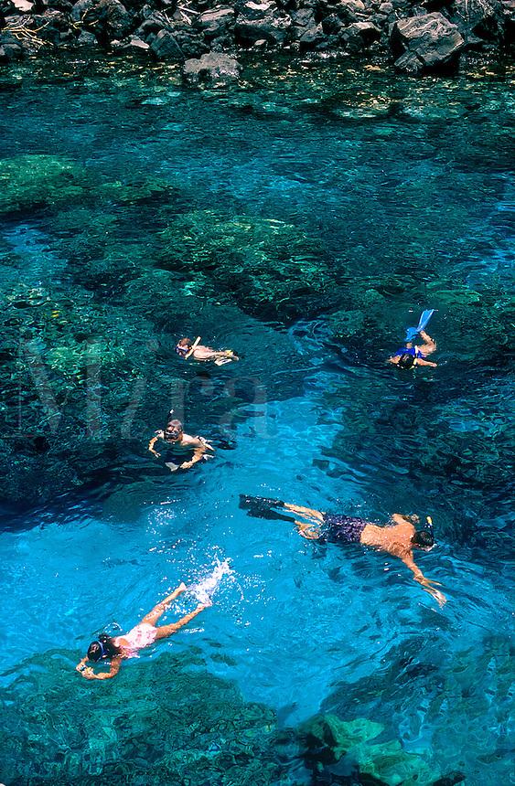 Snorklers, Kealakekua Bay Underwater Park, Big Island, Hawaii