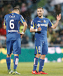 Getafe's Juan Cala and Mehdi Lacen during La Liga match. March 18,2016. (ALTERPHOTOS/Acero)