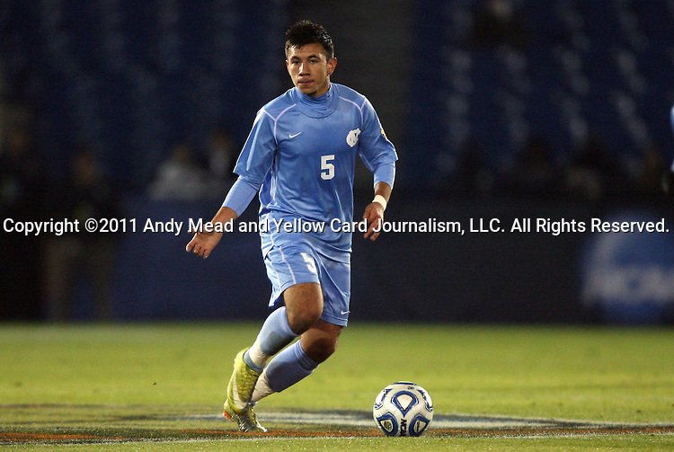 09 December 2011: North Carolina's Mikey Lopez. The University of California Los Angeles Bruins played the University of North Carolina Tar Heels to a 2-2 tie after overtime, with the Tar Heels advancing with a 3-1 win in the penalty kick shootout at Regions Park in Hoover, Alabama in an NCAA Division I Men's Soccer College Cup semifinal game.