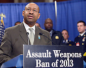 Mayor Michael A. Nutter of Philadelphia speaks at a press conference to announce the introduction of legislation to ban assault weapons on Capitol Hill in Washington, D.C. on Thursday, January 24, 2013..Credit: Ron Sachs / CNP.(RESTRICTION: NO New York or New Jersey Newspapers or newspapers within a 75 mile radius of New York City)