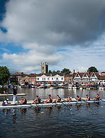 Henley-on-Thames. United Kingdom. University Of California, Berkley, boating for their morning heat in the Temple Challenge Cup. 2017 Henley Royal Regatta, Henley Reach, River Thames. <br /> <br /> <br /> 08:57:23  Friday  30/06/2017   <br /> <br /> [Mandatory Credit. Peter SPURRIER/Intersport Images.
