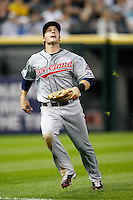 August 7, 2009:  Left Fielder Trevor Crowe (26) of the Cleveland Indians catches a fly ball during a game vs. the Chicago White Sox at U.S. Cellular Field in Chicago, IL.  The Indians defeated the White Sox 6-2.  Photo By Mike Janes/Four Seam Images