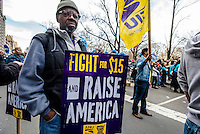 New York, NY - Thousands of Union Members joined Fast Food Workers in a march from Columbus Circle to 42nd Street in Times Square, calling for the minimum wage to be raised to $15 an hour and the right for Fast Food workers to unionize. Workers are currently paid as much as $8.75 an hour.