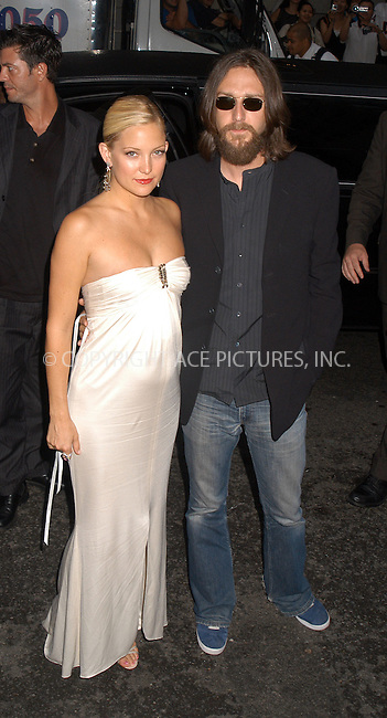New York Premiere of Le Divorce. Pictured: very pregnant Kate Hudson and her husband Chris Robinson. New York, August 5, 2003. Please byline: NY Photo Press.   ..*PAY-PER-USE*      ....NY Photo Press:  ..phone (646) 267-6913;   ..e-mail: info@nyphotopress.com