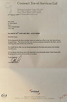 Pictured: The letter sent from the bus company to the family of Alex Jones. Friday 02 February 2018<br /> Re: 12 year old Alex Jones, who has Down's Syndrome, was not dropped off home by bus company CJ Contract Travel Services but instead was discovered at the company's depot in Barry, south Wales, on his way back from Ysgol Y Deri School in nearby Penarth.