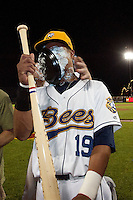 Nino Leyja (19) of the Burlington Bees has a foam pie thrown in his face after the Midwest League All-Star Game at Modern Woodmen Park on June 21, 2011 in Davenport, Iowa. (David Welker / Four Seam Images)