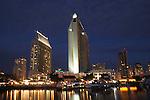 San Diego waterfront at dusk in December