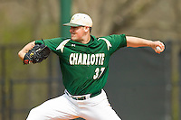 Charlotte 49ers starting pitcher John Hamilton (37) in action against the Virginia Commonwealth Rams at Robert and Mariam Hayes Stadium on March 30, 2013 in Charlotte, North Carolina.  The 49ers defeated the Rams 9-8 in game one of a double-header.  (Brian Westerholt/Four Seam Images)