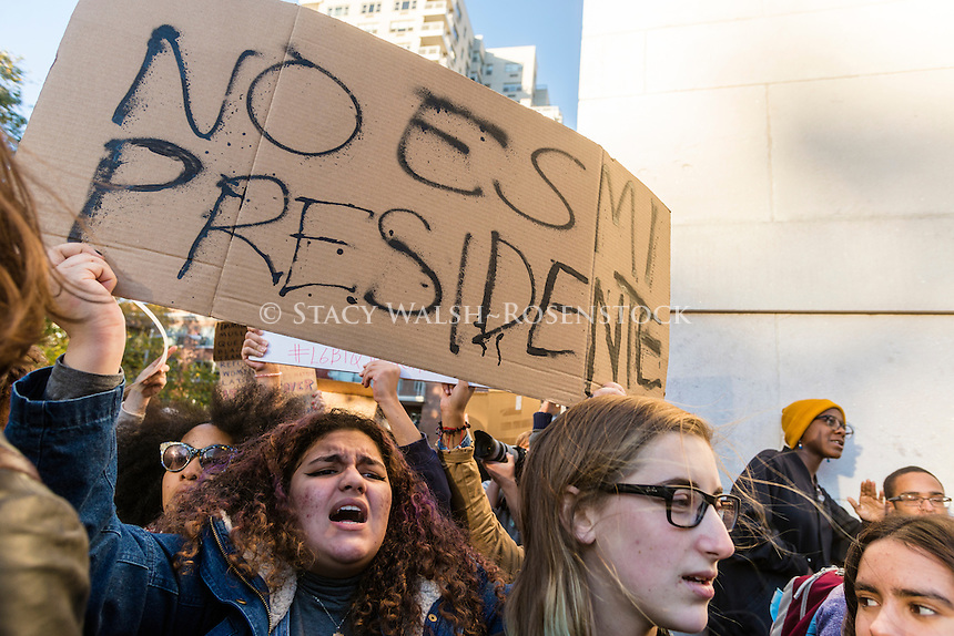 New York, USA 11 November 2016 - Three days after the Presidential Election anti-Trump protesters gathered in Washington Square Park. The rally entitled Love trumps Hate, was iorganized by NYU students in response to anti-Muslim flyers posted outside the university's  Muslim Prayer Center. © Stacy Walsh Rosenstock