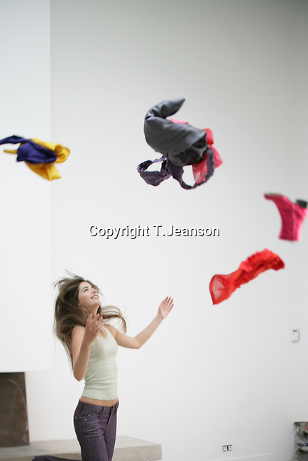 woman throwing things