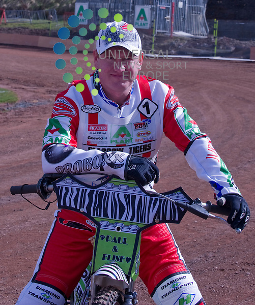 38 year old Englishman Joe Screen, the former world under 21 Speedway champion, will captain the Glasgow Tigers in 2011.  The Glasgow Tigers Premier League speedway team introduce their riders fro 2011 to the press and fans at thier home, Ashfield, Hawthorn Street, Glasgow on 27 March 2011, Picture: Al Goold/Universal News and Sport (Europe) 2011.