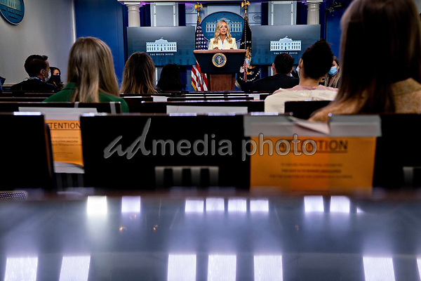 White House Press Secretary Kayleigh McEnany, top center, speaks during a news conference in the Brady Press Briefing Room of the White House in Washington, D.C., U.S., on Friday, May 22, 2020. President Trump ordered states to allow churches to reopen from stay-at-home restrictions imposed to combat the coronavirus outbreak, saying he would override any governor who refuses.<br /> Credit: Andrew Harrer / Pool via CNP/AdMedia