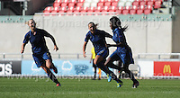 Aminata Diallo of France is joined by team mates as she celebrates on scoring her sides 2nd goal during the UEFA Womens U19 Final at Parc y Scarlets Saturday 31st August 2013. All images are the copyright of Jeff Thomas Photography-www.jaypics.photoshelter.com-07837 386244-Any use of images must be authorised by the copyright owner.